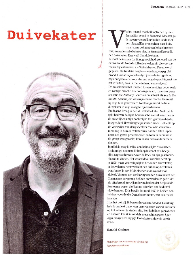 artikel Ronald Giphart Duivekater in Foodies magazine